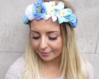 Blue White Rose Orchid Flower Garland Headband Hair Crown Festival Boho 2977