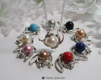 Jasmine Tea Pot Necklace: Antique Silver Tea Pot Necklace, Fable Necklace, Mother's Day Gift