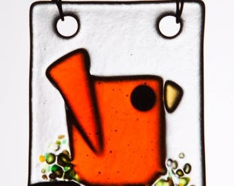 Happy Little Orange Bird Handmade in Fused Glass