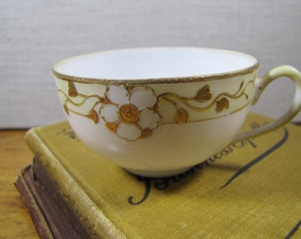 Nippon - Small Porcelain Teacup - Gold Accent - Hand Painted