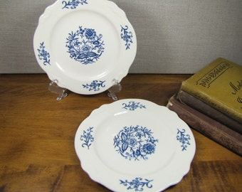 Two (2) Small White Porcelain Plates With Blue Flowers - Scalloped Edge