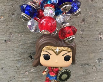 Wonder Woman Handbag Charm, Wonder Woman Accessory, Superhero Purse Charm, Wonder Woman Rearview Mirror Accessory