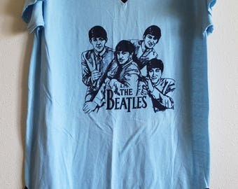The Beatles long t-shirt one size faces album art thin soft worn vintage blue sleep shirt
