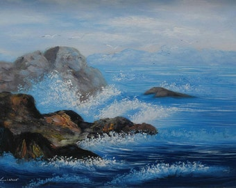Old vintage artist signed original coastal seascape painting rocky seashore waves crashing