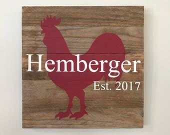 Custom Rooster Sign // Personalized // Gifts for Her // Gifts for Him // Housewarming // Wedding Gift  // Home Sign