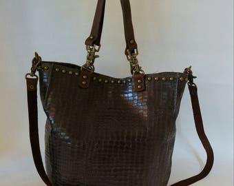 Tote Bag, Woman Bag, Shoulder Bag, Hand Bag, Brown Leather Bag, Boho Leather Bag, Messenger Bag, Leather Tote, Everyday Bag