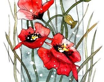 ORIGINAL Watercolor Painting POPPIES  Modern Flowers painting