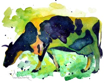 ORIGINAL Watercolor Painting Cow