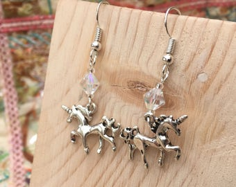 Unicorn Earrings, Dangle Earrings, Silver Unicorn Earrings, Fairytale Earrings, Unicorn Jewellery, Unicorn Gift, Drop Earrings, FREE UK P&P