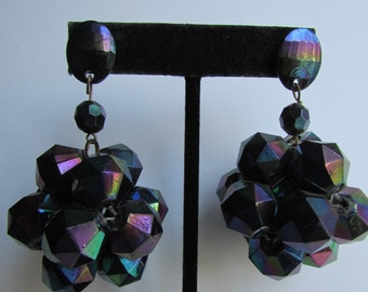 Vintage earring-  Holographic clustered drop earrings- 90s Jewelry