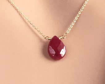 Wife Red Jewelry - Ruby Necklace - Gemstone Jewelry Gift for Wife -  Birthstone Necklace July - Avail Silver Rose Gold