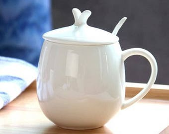 Bone China Coffee Mug with Lid Ceramic Tea Mug, Free Shipping