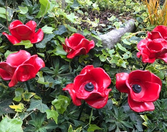 Ceramic red poppy