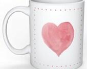 Pink Watercolor Heart Mug