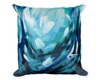 Abstract Pillow, Blue Throw Pillow, Abstract Painting On Pillow, Decorative Pillow, Cushion, Accent Pillow, Navy Blue Pillow, Bedroom Pillow
