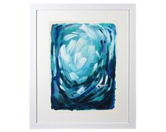 Blue Abstract Painting, Navy, Aqua, Original Painting, Framed Artwork, Abstract Painting On Paper, Turquoise, Abstract Wall Art