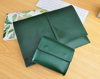Handmade Green Leather New Macbook Pro Case 13inch /15inch New Macbook Sleeve Genuine Leather New Macbook 12inch Case Leather Laptop Bag-082