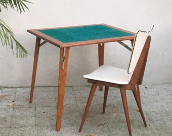 Vintage table with folding game