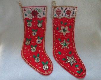 Vintage felt and sequins stockings