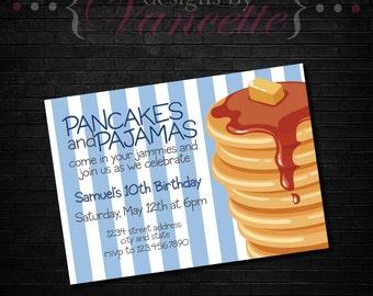 PJs and Pancakes Invite, Pancake invite, Pajamas invite, PJ invite, Pancakes & PJs invite, Pancakes and Pajamas Invite, Pancakes and PJs