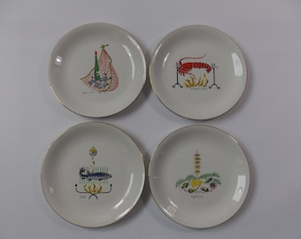4 French decorated fish platters, 1950s, Mer et Riviere