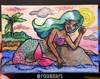 Ocean Mermaid watercolour canvas painting