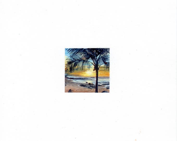 Original Miniature painting of a Beach Sunset. Tiny painting, Beach Sunset art 5 x 5