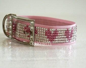 Swarovski Crystal Dog Collar, Heart dog collar, pink dog collar, crystal dog collar, large dog crystal collar,  rhinestone dog collar