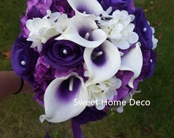 """JennysFlowerShop 12""""W Real Touch Calla Lily Wedding Bride Bouquet in Purple Silk Roes Hydrangeas Hand-Tied"""