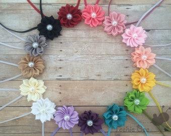 Satin Flower Headband - Pearl Flower Headband - Pearl Flower Baby Headband - Small Flower Headband - Skinny Flower Headband