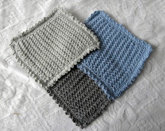 Cotton Washcloths - Eco-friendly Recycled Cotton Crochet Knit Facecloths - Blue Grey Seashore Colours Bath Cloth Face Towel Bathroom Gift