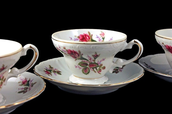Tea Cups and Saucers, Royal Sealy, Moss Rose Pattern, Set of 3, Rose Floral, Gold Trim