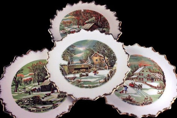 Wall Plates, Currier and Ives, Set of 4, Winter Scenes, Brushed Gold Edges, Scalloped, Made in Japan, Decorative Plates