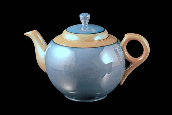 Blue Nippon Lusterware Teapot, Iridescent, Made in Japan, Peach Trim, Black Line, Handpainted, 3 Cup