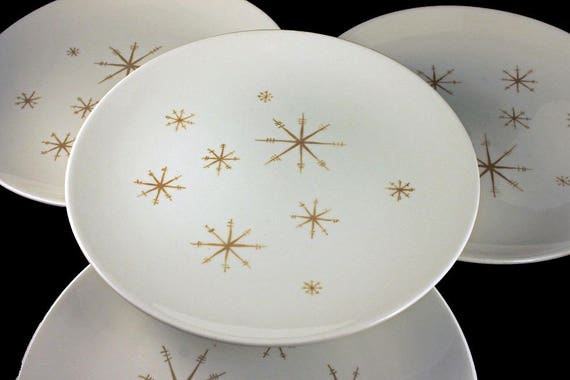 Dinner Plates, Royal China (USA), Star Glow, Gold Star Design, White and Gold, Set of 4