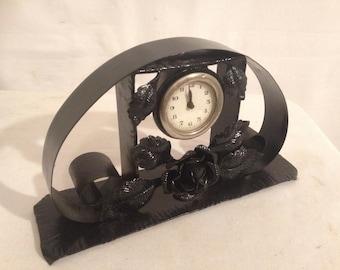 Old 50s Vintage black metal clock