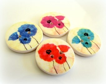 Poppy buttons - red poppies - blue poppies - handmade buttons - Australian made - Gorgeous Poppy Buttons - Beautiful Flowers - Floral