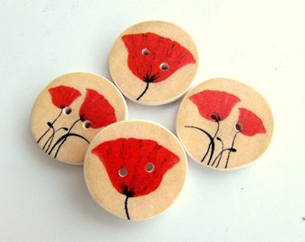 Poppy buttons Splash of Red - red poppies -  handmade buttons - Australian made - Gorgeous Poppy Buttons - Beautiful Flowers - Floral