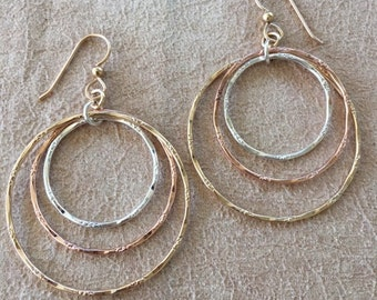 Tri-color silver and gold-filled hoops. Textured, sterling,  14k gold and rose gold-filled, light, airy, movement, gypsy soul, tribal.