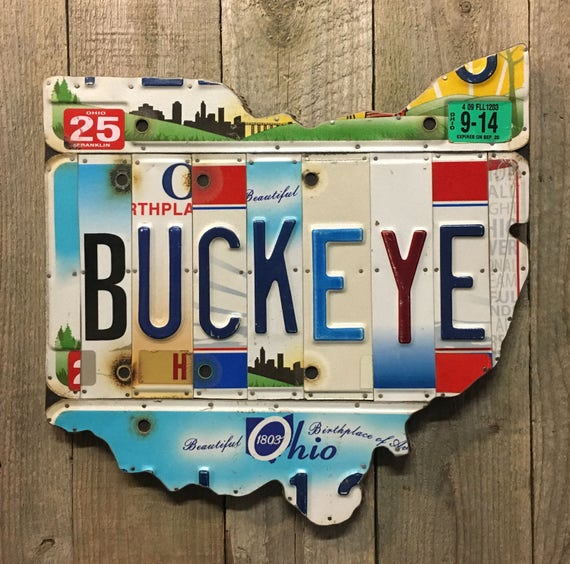 Buckeye License Plate sign Wall Art Ohio license plate map, Rustic Apple Art as seen in Country Living Magazine, Free  Shipping in USA