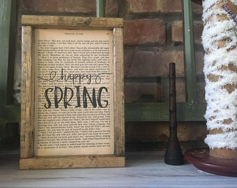 "Book Page Art with ""Happy Spring"" 