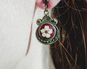Earrings in vintage style with real flowers / long earrings / earrings Marsala / bronze earrings / earrings with flowers /