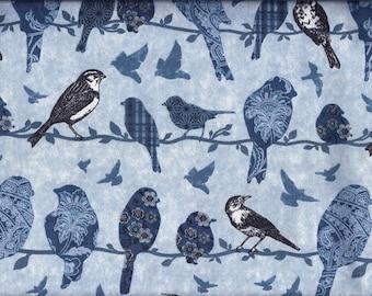 Birds Blue on Vine Curtain Valance