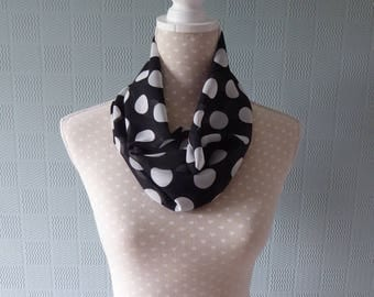 Black and white polka dot snood scarf,  black chiffon snood,  black chiffon cowl with white polka dot