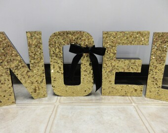 Gold Sequin Noel Paper Mache Letters-Christmas Decor-Christmas Shelf Sitter