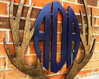 """24"""" Two Color Woodland Theme Wooden Antler Monogram, Rustic Monogram, Hunter Decor - You Pick The Stain Color or Paint Color"""