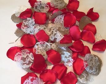 Red Rustic Rose Petals/Country Flower Girl/Rustic Toss Petals/Barn Wedding Petals/Rustic Decorations/Cherry Red Petals/Burlap Petals