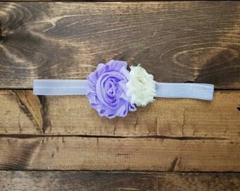 Pastel purple and ivory infant headband, spring flower baby headband, newborn bows, photo prop, Easter baby girl shabby flower headband