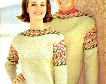Vintage His and Hers Fair Isle Pullover Knitting Pattern from the 60s