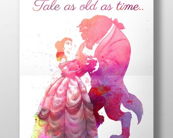 """Beauty & the Beast Print, Watercolour Poster - Perfect Gift - """"Tale as old as time""""  Upcycled Vintage Dictionary Print Option"""